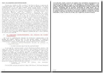 Droit communautaire - La coopération inter-institutionnelle
