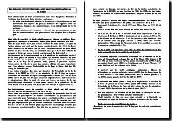 fiche de lecture : les sources constitutionnelles du droit administratif