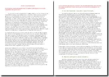 La révision constitutionnelle du 23 juillet 2008 boulverse t-elle l'équilibre des pouvoirs ?