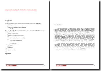 Analyse de la stratégie de distribution d'Inditex (textile)