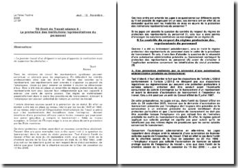 commentaire d'arrêts groupés : La protection des institutions représentatives du personnel