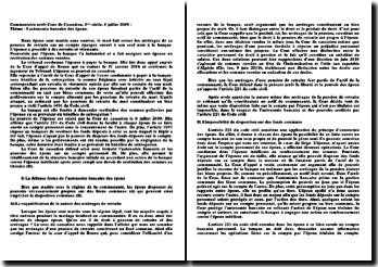 Commentaire arrêt Cour de Cassation, 1ère civile, 8 juillet 2009
