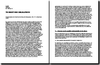Commentaire de l'arrêt de la Cour de Cassation : Civ. 1ère, 22 février 1978