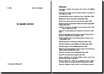 dossier sociologie du monde ouvrier