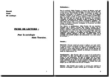Fiche de lecture Pour la sociologie d'Alain Touraine