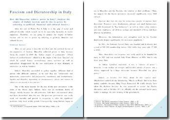 Fascisme et dictature en Italie: Mussolini