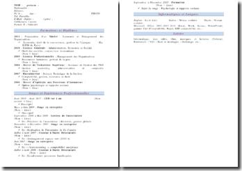 Modèle de CV en vigueur (2011)