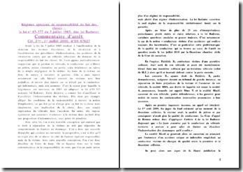 Commentaire d'arret, Civ. 2ème, 1 juillet 2010, Régimes spéciaux de responsabilité du fait des choses, loi Badinter