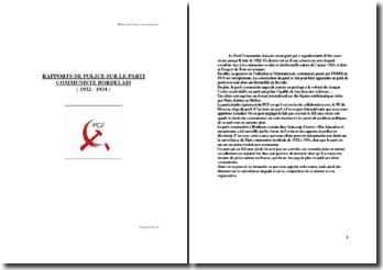 Surveillance du PCF bordelais 1932 1934