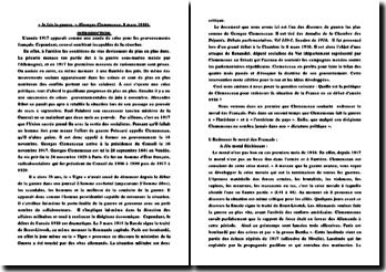 Commentaire du discours de Georges Clemenceau Je fais la guerre. du 8 mars 1918