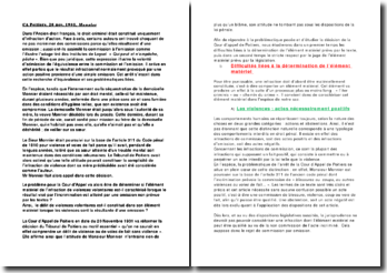 Commentaire arrêt Monnier : Cour d'Appel de Poitiers 20 Novembre 1901