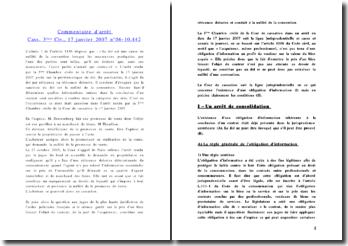 Commentaire d'arrêt Cass. 3ème Civ., 17 janvier 2007