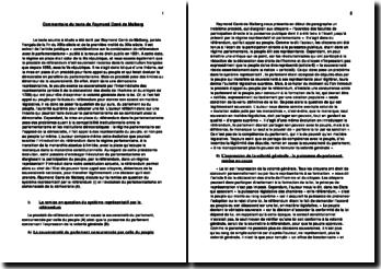 commentaire de texte considérations sur la combinaison du référendum avec le parlementarisme Raymond Carré de Malberg
