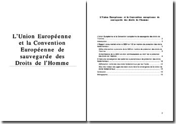 L'Union Européenne et la Convention Européenne de sauvegarde des Droits de l'Homme
