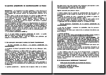 La question préjudicielle de constitutionnalité en France