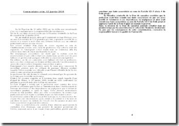 commentaire Chambre criminelle 12 janvier 2010