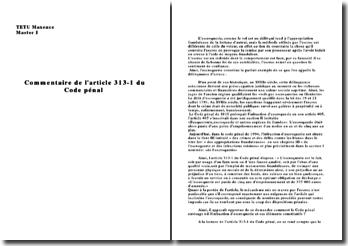 Commentaire Article 313-1 Code pénal