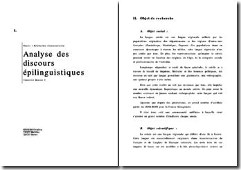 Analyse des discours épilinguistiques : le créole