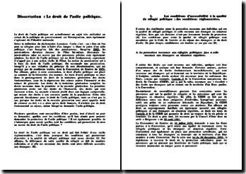 Dissertation : Le droit de l'asile politique.