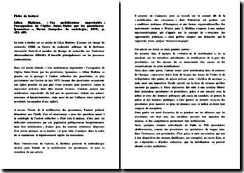 Lilian Mathieu, « Une mobilisation improbable : l'occupation de l'église Saint-Nizier par les prostituées lyonnaises », Revue française de sociologie, 1999, p. 475-499.