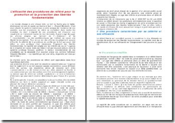 L'efficacité des procédures de référé pour la promotion et la protection des libertés fondamentales