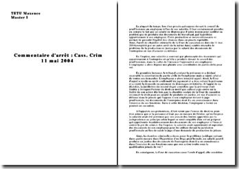 Commentaire arrêt Cass crim 11 mai 2004