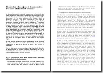Dissertation de droit administratif relative aux enjeux de la construction d'un droit administratif autonome