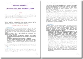 Fiche de lecture Philippe Bernoux - la sociologie des organisations