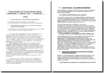Commentaire de l'arrêt Conseil d'Etat, Assemblée ; 7 février 1947, « d'Aillières »