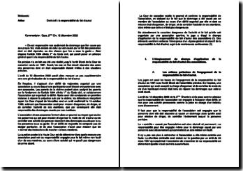 Commentaire 2ème Chambre civile 12 décembre 2002 - La responsabilité du fait d'autrui: les associations