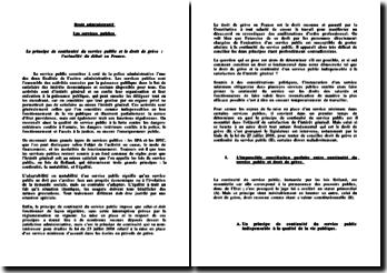 Le principe de continuité du service public et le droit de grève : l'actualité du débat en France.