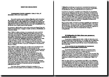 Commentaire 3ème chambre civile 15 décembre 1993 et 27 mars 2008 - L'obligation de faire dans la promesse unilatérale de vente