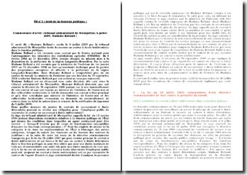 Commentaire d'arrêt : tribunal administratif de Montpellier, 6 juillet 2009, Madame Rolland :