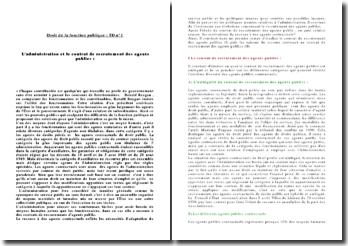Dissertation : L'administration et le contrat de recrutement des agents publics