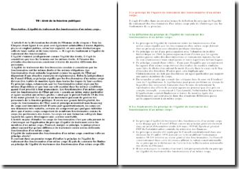 Dissertation : L'égalité de traitement des fonctionnaires d'un même corps :