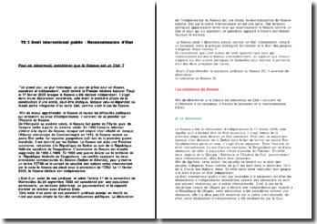 Dissertation : Peut-on désormais considérer que le Kosovo est un Etat ?