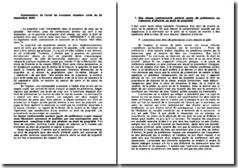 Commentaire de l'arrêt de troisième chambre civile du 23 septembre 2009