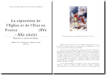 La séparation de l'Eglise et de l'Etat du XVe au XXe siècle