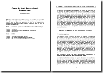 Cours de droit international économique