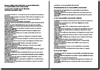 Responsabilité civile délictuelle (ou quasi délictuelle) et responsabilité civile contractuelle. Commentaire détaillé d'arrêt- 22487 Arrêt du 4 novembre 1986