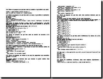 Exercices corrigés de programmation sur Python