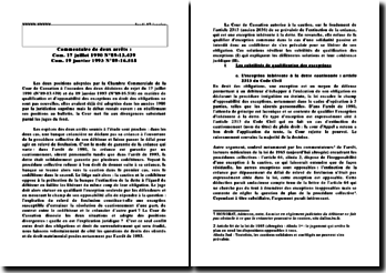Commentaire de Com. 17 juillet 1990 N 89-13.439 et Com. 19 janvier 1993 N 89-16.518