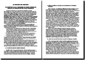 Le Décret de Gratien: Inscription dans l'Histoire du Droit, Héritage romain et prototype de l'État moderne