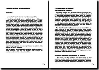 L'utilisation de l'article 16 de la Constitution