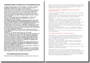 Commentaire comparé articles 34 et 37 Constitution 1958