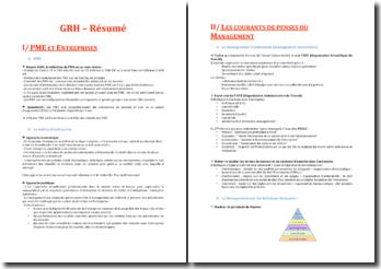GRH (Gestion des Ressources Humaines) Résumé du cours