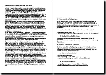 Commentaire sur la loi du 3 juin 1958