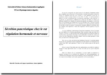 Sécrétion pancréatique chez le rat régulation hormonale et nerveuse