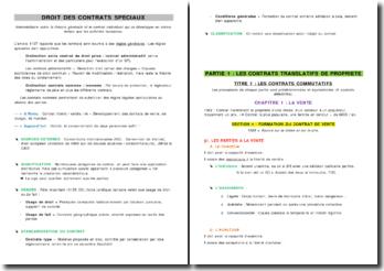 Droit des contrats / Droit des contrats spéciaux