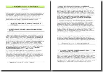 Le principe d'égalité de traitement: dissertation